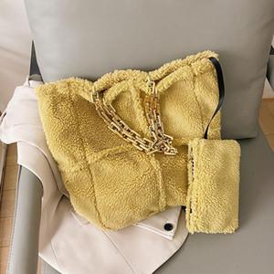 Плюшевая цепная сумочка для женщин 2021 зима мягкая стрелка, сумочки для плеч женские туристические сумки леди цепь ручной сумки SAC FEMME