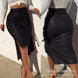 WEPBEL Sexy Women Leather Skirts Slit Long Slim-Fit Lace Up Skirts Solid Color High Waist Pencil PU Skirts Casual Club Wear