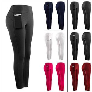 Women Stretch lady Leggings Fitness Running Gym Sports Pockets Active Pants High Waist Seamless Exercise Athletic Trousers