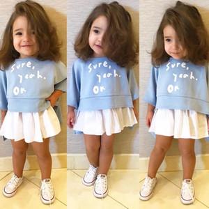 جديد ins إلكتروني طباعة الفتيات الأزرق بأكمام طويلة شيرت الأعلى الاطفال القطن تنورة كشكش توتو التنانير ربيع الخريف الطفل 2 قطعة مجموعة لمدة 1-6years