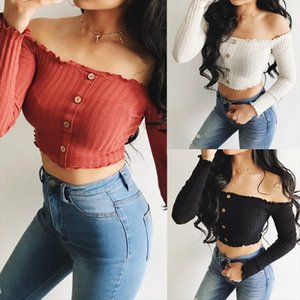 New Womens Fashion T shirt Sexy Ladies Frill Bardot Skinny Slim Off Shoulder Top Female Jumper Ribbed Long Sleeve Crop Tops
