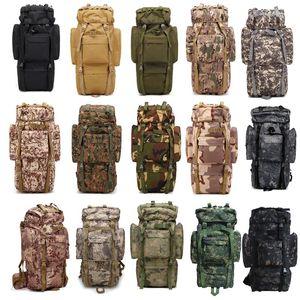 Pacchetto sportivo all'aperto Borsa escursionistica Tactical Zaino Camo Zaino Combat Camouflage Tactical Molle 65L Zaino NO11-023