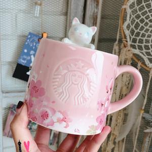 أصيلة ساكورا ستاربكس الكرز زهرة سلسلة الوردي 355 مل سعيد القط القدح كأس السيراميك