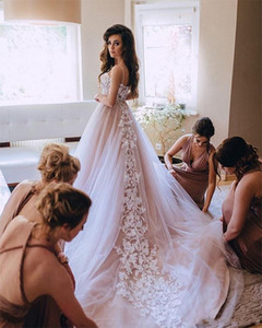 Romantic Bohemian Sexy Blush Pink Plus Size Country Style Wedding Dresses Spaghetti Strap A Line Tulle Applique Boho Wedding Bridal Gowns