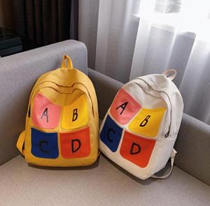 Schoolbag Large Capacity Student Backpack Women Canvas Backpacks with Letter Girl Shoulder Bag