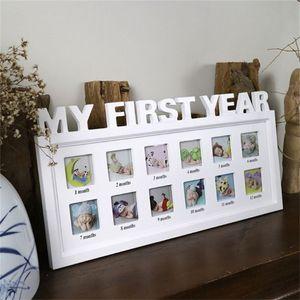 Jusenda Baby DIY Fotorahmen 1-12 Monate Memorial Wachsende Bilderrahmen Mein erstes Jahr Kinder 1 Jahr Geburtstagsraum Wanddekorationen 201212