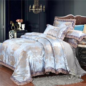 Home textile silver bedding set Jacquard Lace duvet cover set 4pcs bed linen European bed cover luxury golden flat sheet scallop Q1127