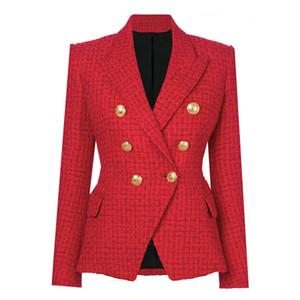 HIGH STREET Newest Runway A W Designer Blazer Women's Double Breasted Metal Buttons Wool Coat Blazer Jacket 201102