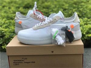MCA Authentique Basse 1 Université Blanche Blue Off '07 Moma Air Volt Black White Voile Forces Original Hommes Chaussures de plein air Sneakers Virgil Ablo