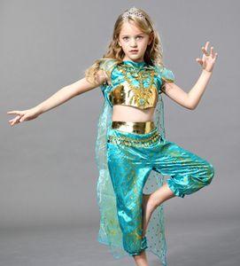 Auaci Halloween Jasmine Princess Falda Aladdin Niños Niños Niñas Princesa Vestido Twn QUN Tong QUN Vestido Disfraz de Drama