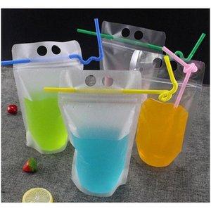 17oz 500 ml Bolsas de bebidas claras Bolsas con cremallera helada Soporte de plástico Bolsa de consumo de plástico con paja con el soporte Reclos JLLLRBT MXYARD