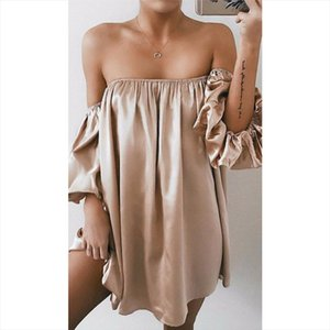 Sexy Womens Casual Summer Sexy Off Shoulder Lantern Sleeve Bandage Draped Slash Neck Evening Party Dresses