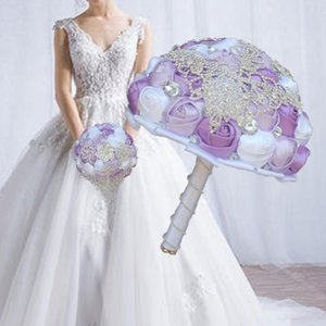 Luxury Diameter 15 18 21 24CM Handmade Wedding Bouquet Bridal Bridesmaid Bouquets Ribbon Rose Brooches Bride Holding Flower