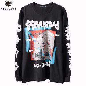 Aolamegs Sweatshirt Men Bloody Horror Cartoon Comics Girl Print Baggy Cool Streetwear Men Oversize High Street Hip Hop Pullover Y1112