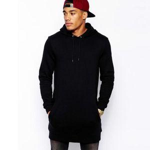 Black mens longline hoodies men fleece solid sweatshirts fashion tall hoodie hip hop side zipper streetwear extra long hiphop11