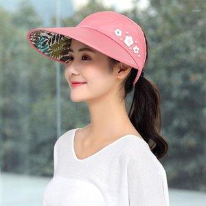 Summer Beach Sun Chapeau Femmes Version florale coréenne de la vélo Voyage UV Protection Sun Visor Femme Écran solaire Fielding Casual1