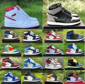 2020 1 basketball Shoes 1s men women sneakers white black red laser orange black Satin