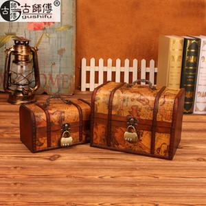Big vintage storage box desktop wooden jewelry box with lock European suitcase zakka decoration props box Wedding gifts 2pcs set Z1123