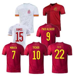 2020 21 스페인 저지 홈 멀리 축구 유니폼 20 21 Paco Alcacer Asensio Morata Isco Iniesta 사울 남성 키트 스포츠 축구 셔츠