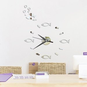 Acrylic Mirror Wall Clock Sticker Set 3D Fish wall clock Home Decor Poster Decals Poster Paster Decor Kitchen Living Drawing