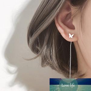 Silver Color Butterfly Long Tassel Drop Earrings Simple Style Small Cute Earrings for Women New Fashion Jewelry Gift