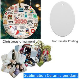 Sublimación en blanco Cerámica Colgante Creativo Navidad Adornos Transferencia de calor Transferencia de calor DIY Ornamento de cerámica redonda Decoración navideña