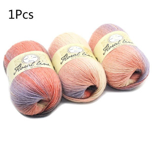 Soft Worsted Yarn Rainbow Gradient Colors DIY Baby Knitting Wool Shawl Scarf Crochet Thread Supplies