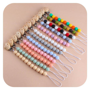 New 2021 Silicone and Wood Baby Pacifier Clips chain Newborn Pacifier Chain Teething Beads BPA Free Baby Teether Pendant Soothie Clips B3760