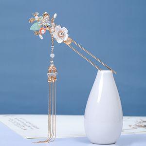 Chinese Forks Hairpin Luxury Headdress Super fairy tassel Gold Color Sticks Women Flower Hair Pin XH Q1124