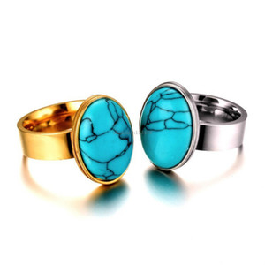 stainless steel turquoise Ring diamond Silver gold women mens ring band fashion jewelry gift will and sandy new