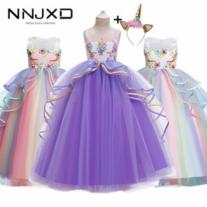 Rainbow Unicorn Cosplay Girl Dress Party Elegant Flower Lace Long Tutu Formal Ball Gown Princess Baby Dresses 5 7 8 12 14 Years 201130