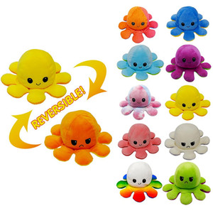 Reversible Flip Octopus Plush Stuffed Toy Soft Animal Home Accessories Cute Animal Doll Children Gifts Baby Companion Plush Toy w-00392