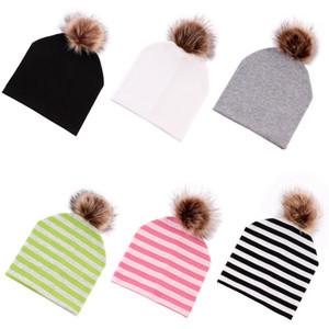 Новорожденная зима теплый полосатый вязаный колпачок двойной мех помпом мяч шапочки шапки детские мальчики девушки мода хип-хоп шляпы Party Hood 59 p2