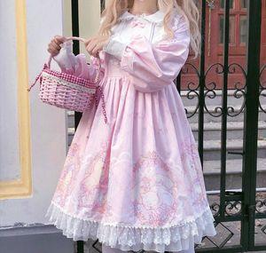 OP Japanese Cute Lolita Dress Long Sleeve Doll Round Neck lolita party dress kawii vintage dress Pink White Soft Girl skirt