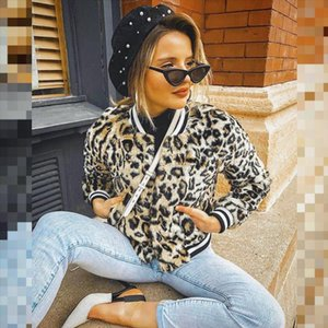 Sale Zipper Mosaic Leopard Printed Women Jackets Outfits Female Coat 2020 Autumn Bomber Jacket Coat Long Sleeve Outerwear Q30