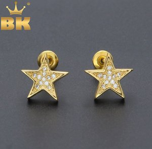 New Fashion Exquisite Design Beautiful CZ Crystal Zircon Micro Paved Star Shape Women Charm Stud Earrings Silver Plated Jewelry Q1129