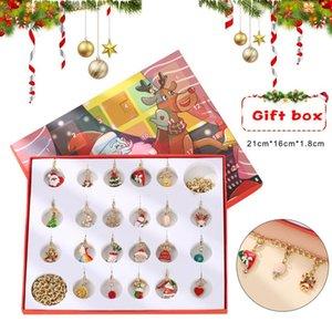 Christmas Advent Calendar Christmas Themed DIY Charm Jewelry Bracelet Necklace Making Kit for Girls LXH