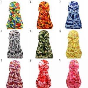 Unisex Colorful Fashion Headwear Bandanas Women Men Trendy Long Tail Camo Silky Durags Turban Cap Head Cover Bandana Hat