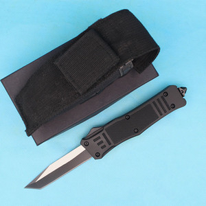 7 Inch New 616 AUTO Tactical Knife 440C Black + Wire Drawing Blade Zn-al Alloy Handle With Tactical Nylon Bag