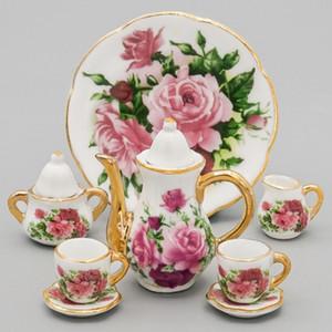 Odoria 1: 6 Minyatür 8 adet Porselen Gül Çay Bardağı Set Seramik Sofra Bebekler 'Dollhouse Mutfak Aksesuarları LJ201007