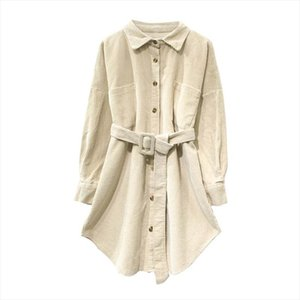 PERHAPS U women velvet ivory pink solid turn down collar long sleeve full sleeve long shirt sash corduroy high street B0256