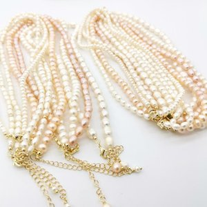 Freshwater Pearl Necklace Natural Pink and White Delicate 14K Gold Filled Magnet Clasp For Women Gift Fine Jewelry