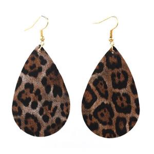 Super Light New Leopard Print Pu Leather Big Water Drop Earrings Bohemia Statement Big TearDrop Pu Leather Earrings Wholesale