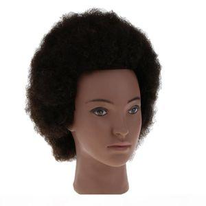 Schwarzer Afro-Mannequin-Kopf 100% echtes Haar-Friseur-Training-Kopf-Manikin-Kosmetik-Puppenkopf