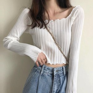 Base Shirt Autumn Short Coat White Crop Navel Thin Long Sleeve Slimming Temperament Square Collar Turtleneck The New 2020 Trend Hot Style