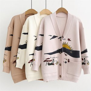Sweater Womens Autumn And Winter New Loose Cute Print Joker Long Sleeve Womens Knitted Jacket Sweaters Oversize 2020
