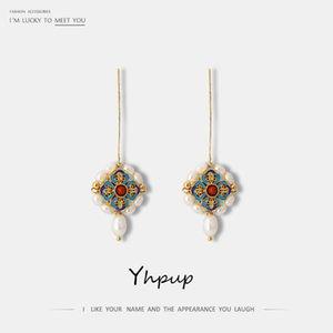 YHPUP Persönlichkeit Vintage Natürliche Perlen Ethnische Geometrische Baumeln Ohrringe Handgemachte Erklärung Charme Brincos Weibliches Weihnachtsgeschenk LJ200909