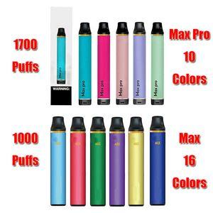 Max Pro DISPOSABLE Pod Device Kit 600mAh Battery 1000 1700 Puffs Prefilled 5ml Cartridge Vape Empty Pen VS Hyppe Bang XXL Plus Flow