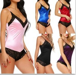 Hot selling Sexy Lingerie Sexy sling conjoined imitation ice silk underwear for women 2020 New fashion Solid color Erotic lingerie Bodysuit