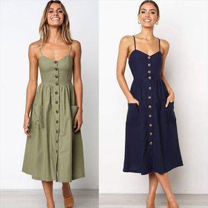 Summer Midi Dress Womens Sexy Sling Backless Sleeveless Button Striped Dot Print Solid Beach Dress With Pockets Female Sundress